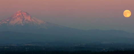 Full moon and Mount Hood