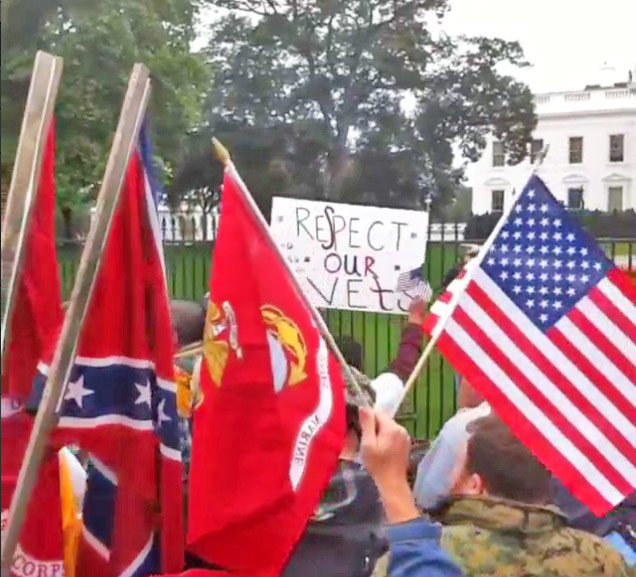 Saluting the confederate flag