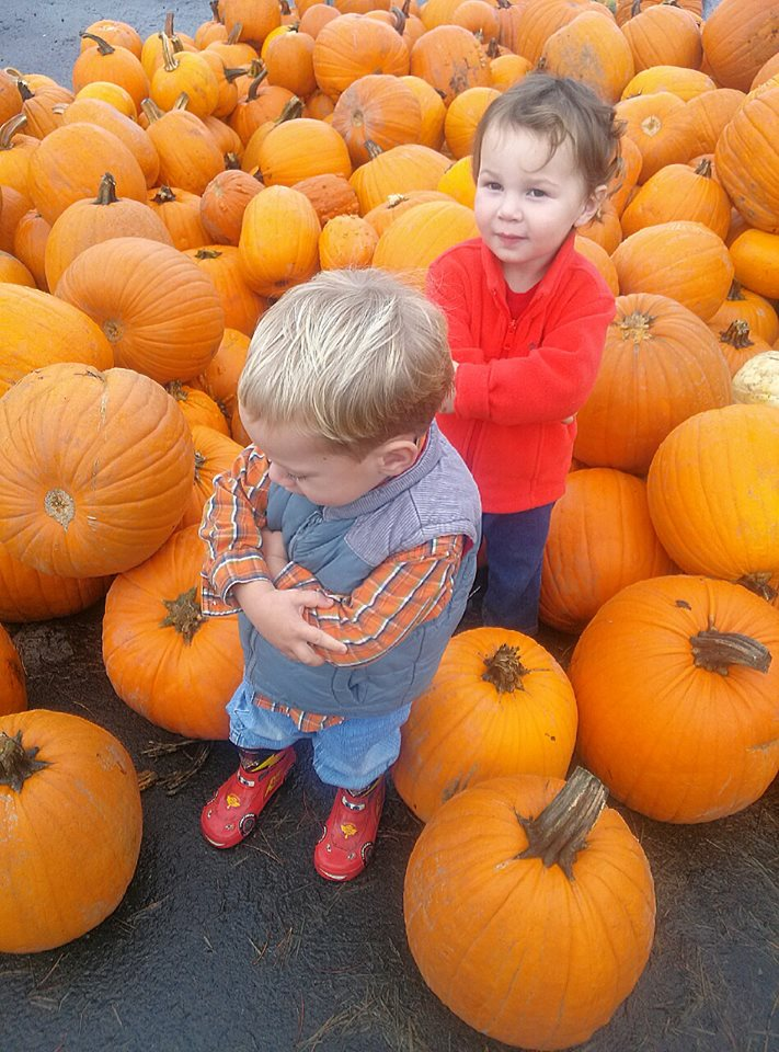 O & Sev hanging out at the pumpkin patch