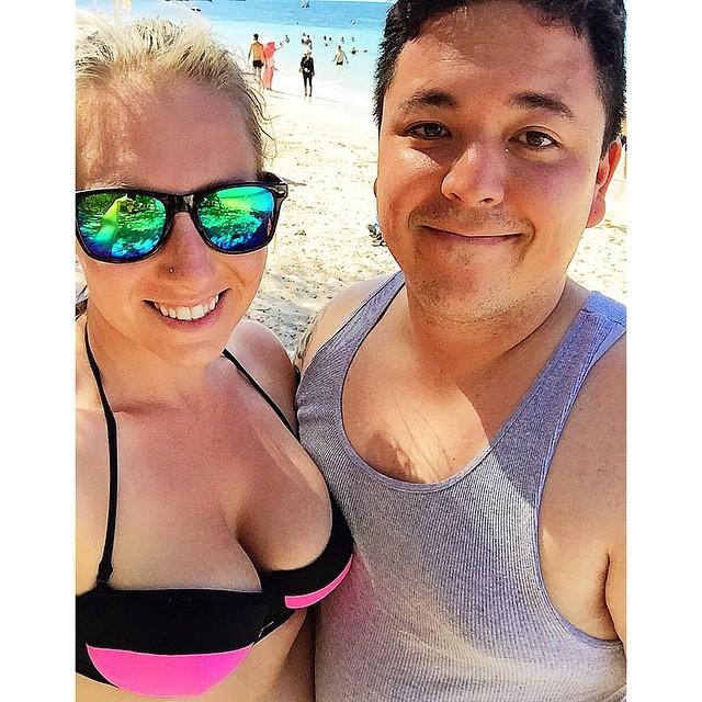 The couple, on the beach in Australia
