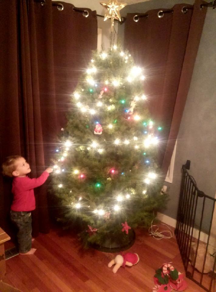 Decorating his tree