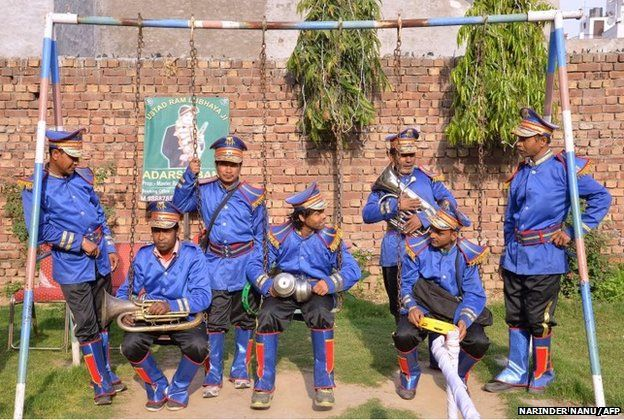 Members of an Indian wedding band