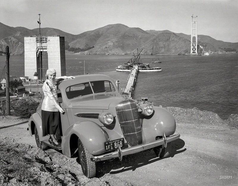 1935 ~ Oldsmobile Coupe ~ Golden Gate Bridge under construction