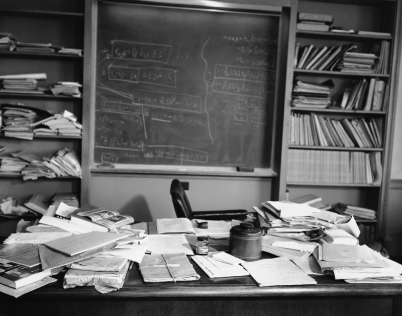 Albert Einstein's office the night he died, New Jersey 1955.