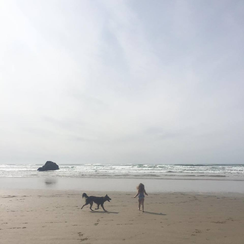 A girl and her dog  at Arcadia State Beach  Oregon