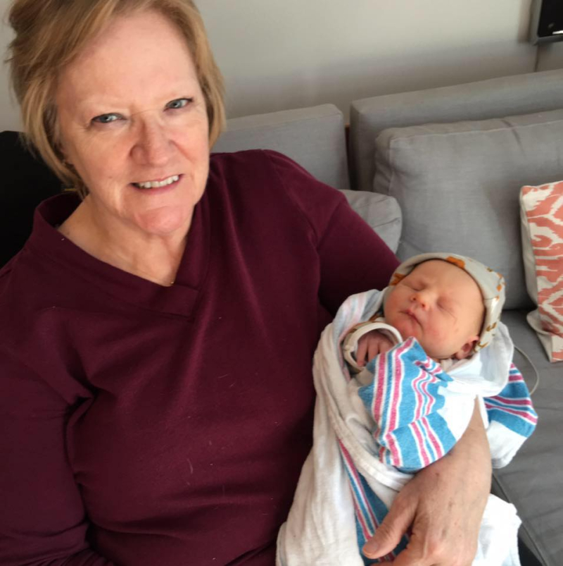 Debbie with her new grandson