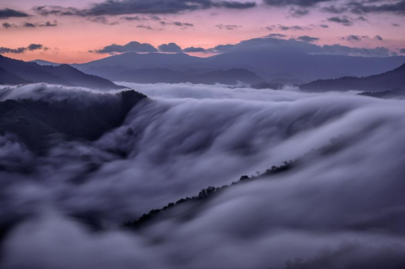Waterfall of fog