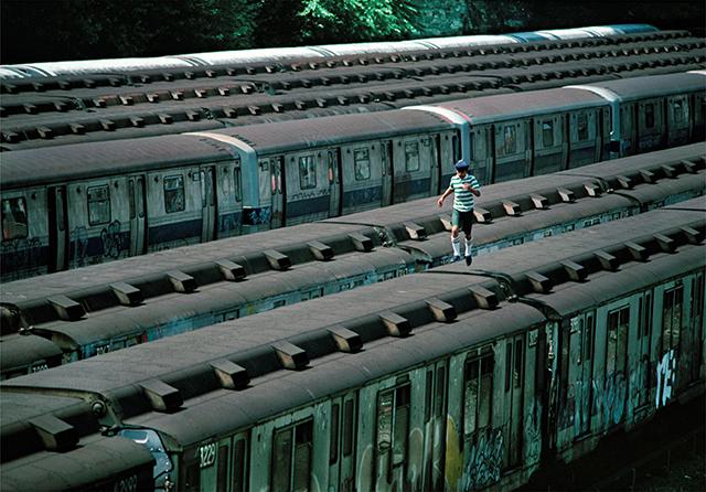 Boy running on train  NYC