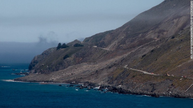 Landslide along Big Sur