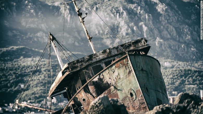 Wrecked fishing boat on Montenegran coast