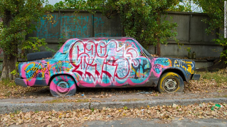Abandoned car  Kiev  Ukraine