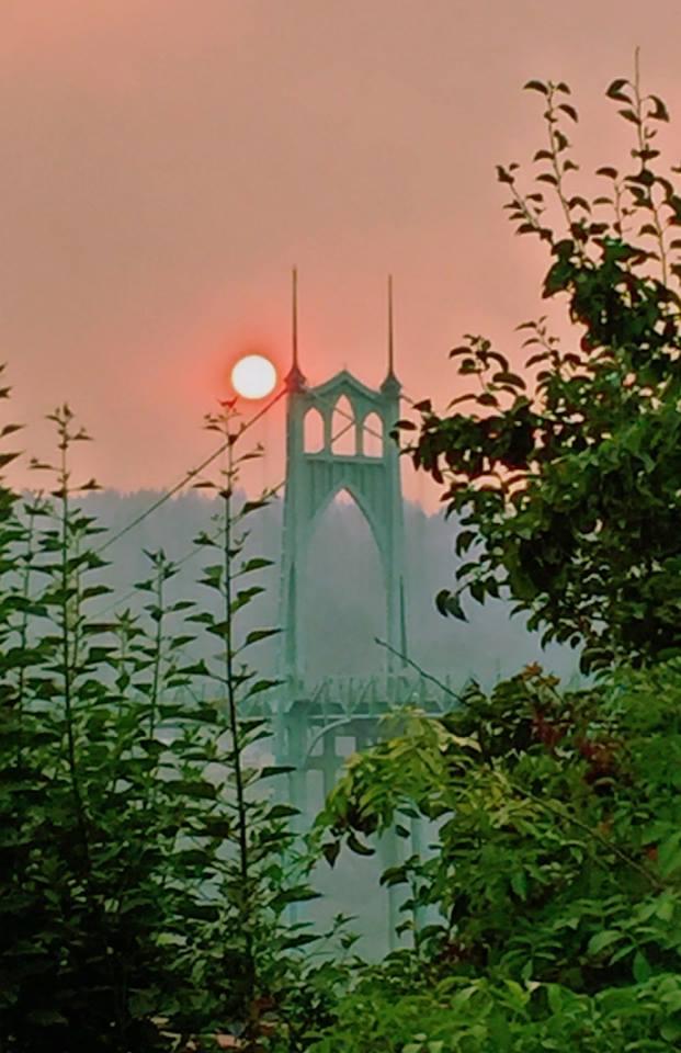 Hazy sunset over the St. John's Bridge