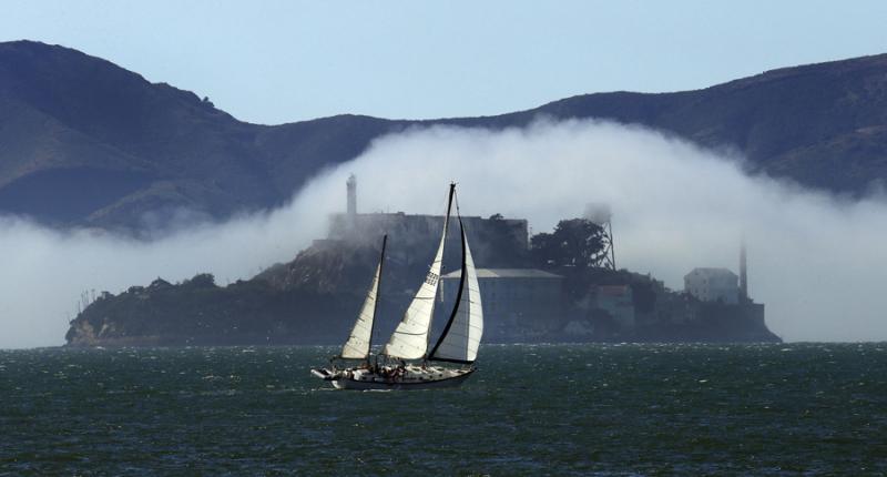 Sailboat off of Alcatraz Island  San Francisco Bay