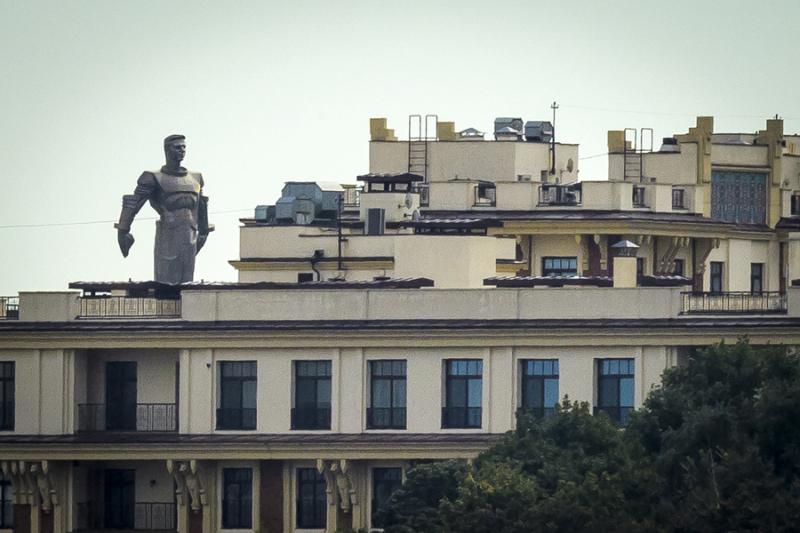 42.5-meter-high titanium monument of Soviet cosmonaut Yuri Gagarin  the first man in space