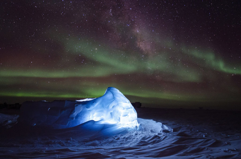 Illuminated igloo in Antarctica