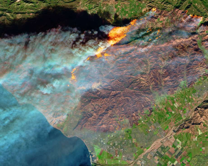 NASA photo of Southern California wildfires