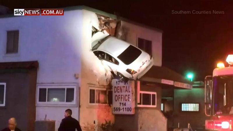 Second floor car crash