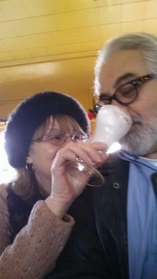 Bill Barrett & Melissa, drinking Irish coffee in SF