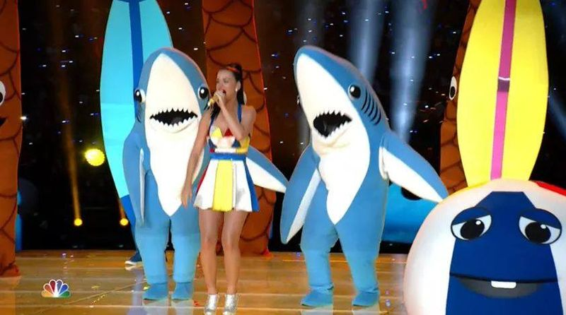 Katy Perry with dancing sharks