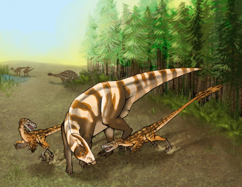Two Saurornitholestes sullivani raptors attacks a subadult hadrosaur Parasaurolophus tubicen