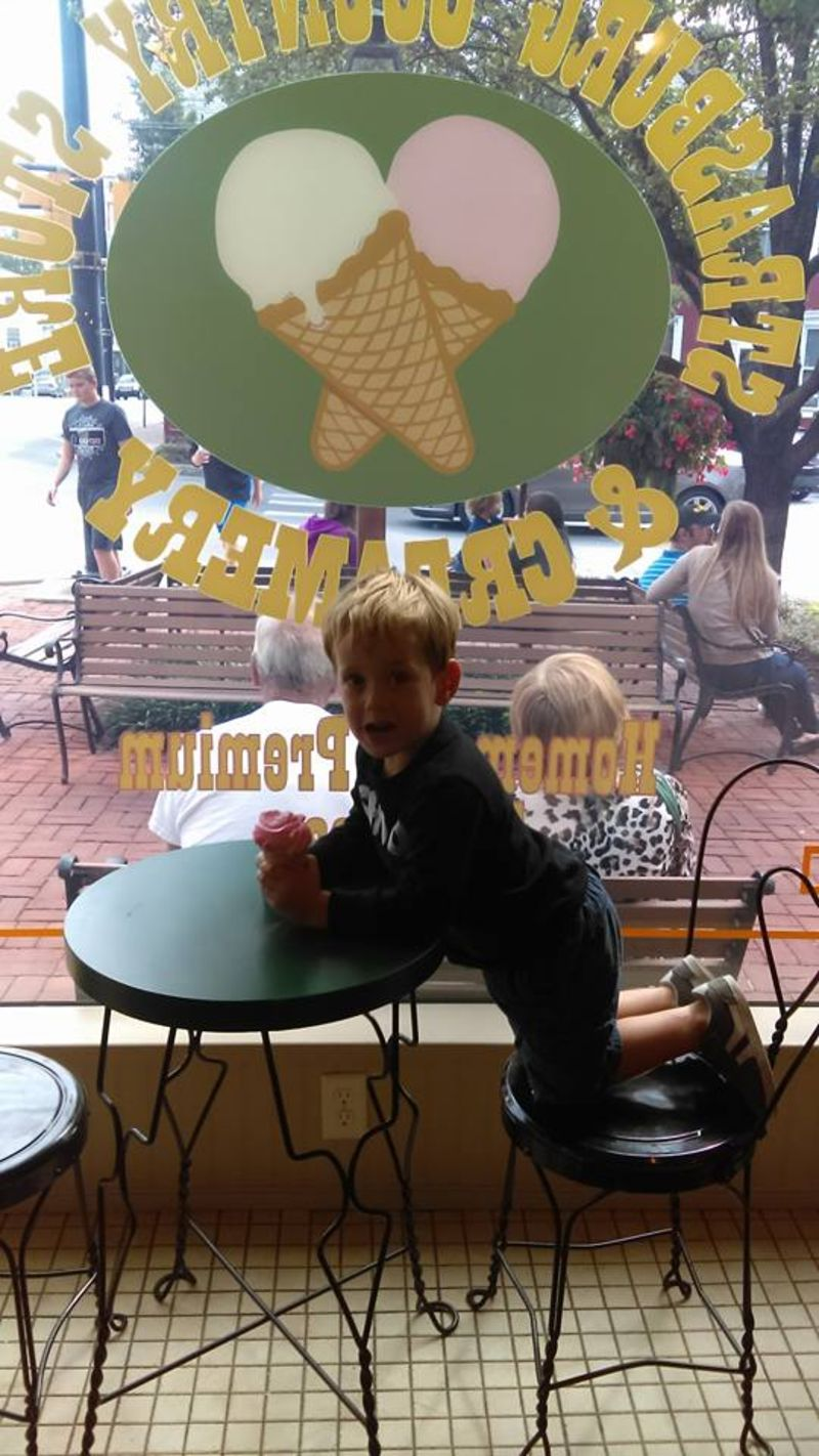 A scoop of teaberry at the Strasburg Creamery