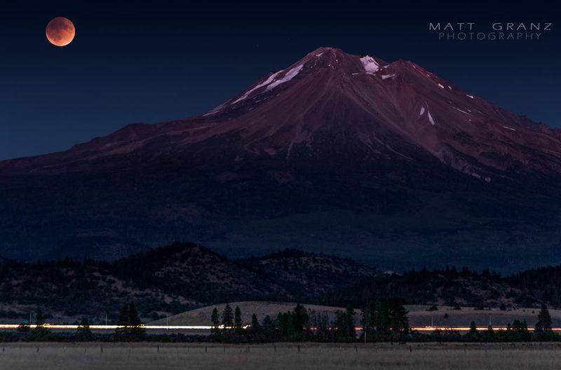 Moon above Mount Shasta
