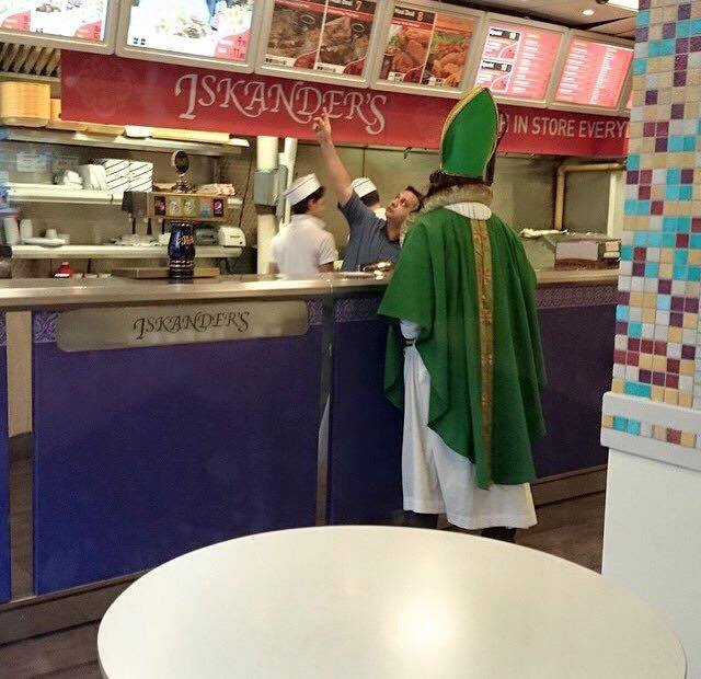St. Francis buys his kebab on the way home