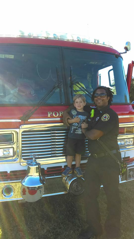 Oliver and firefighter David