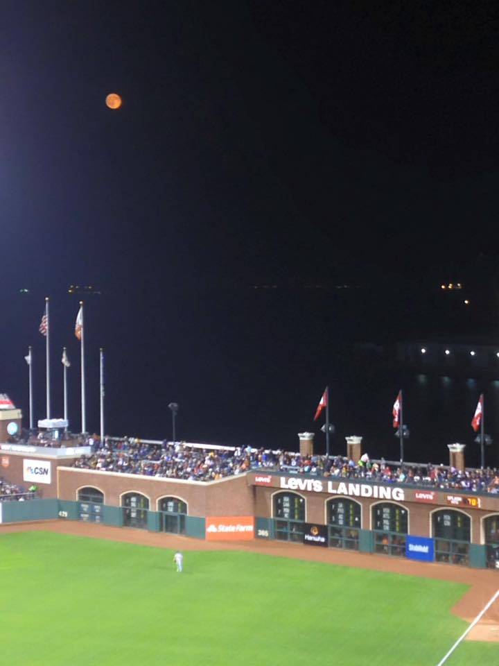 Orange full moon over San Francisco Giants