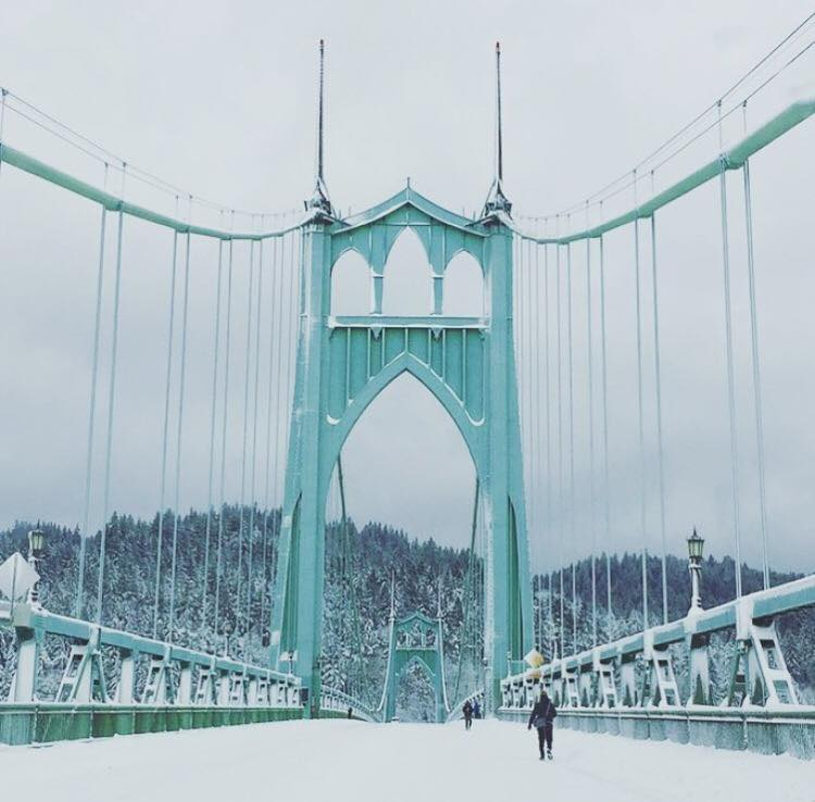 St. John's Bridge, snowed in.