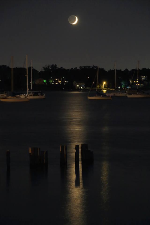 Crescent moon over Keyport