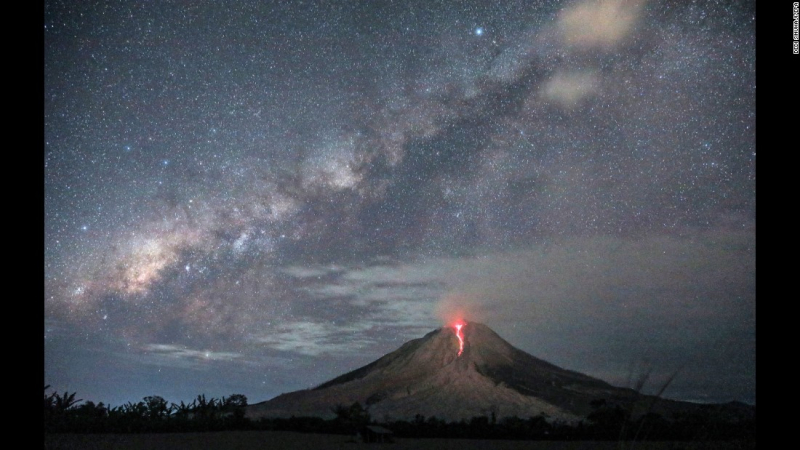 Mount Sinabung  under the Milky Way