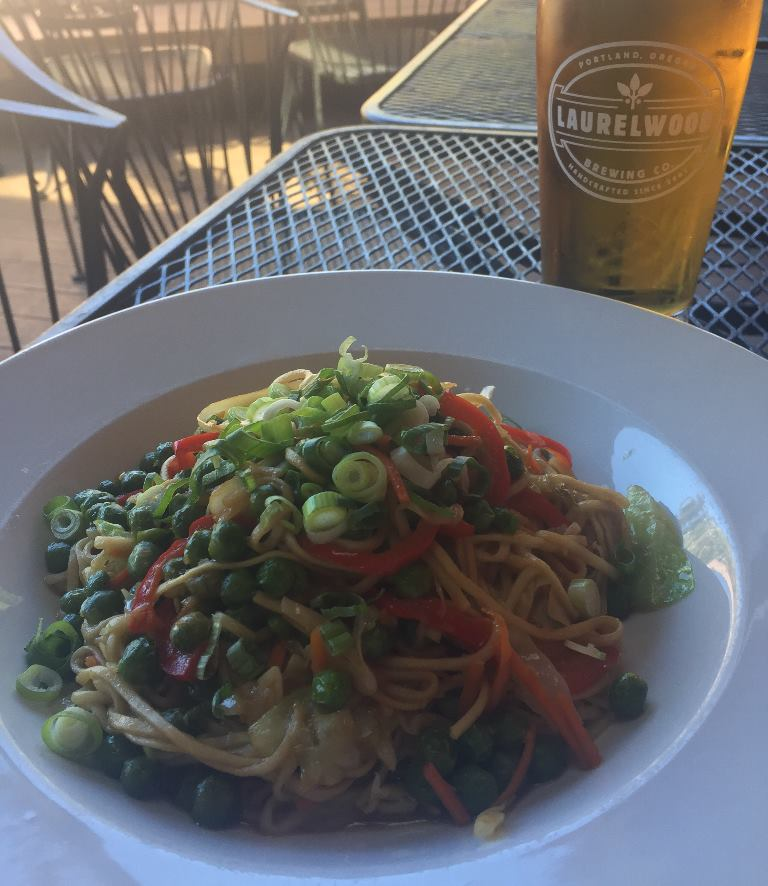 Yakisoba paired with wood lager
