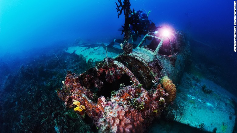 WWII Japanese Mitsubishi fighter  now a reef