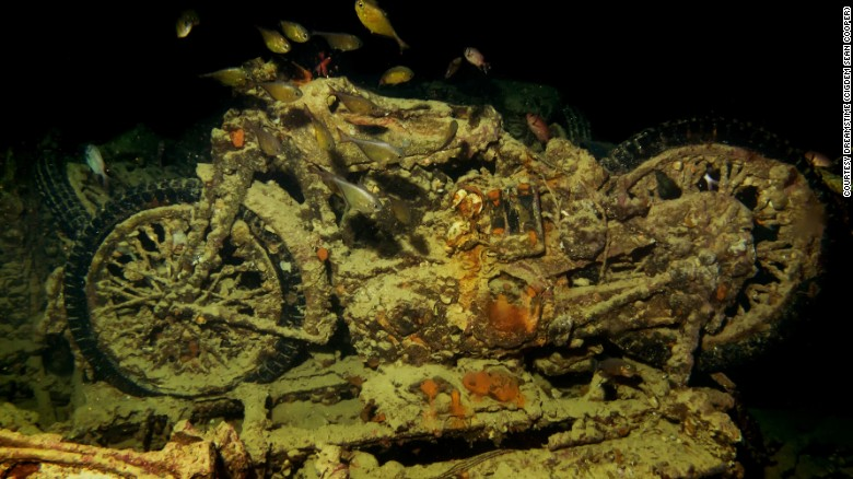 Motorcycle aboard sunken ship