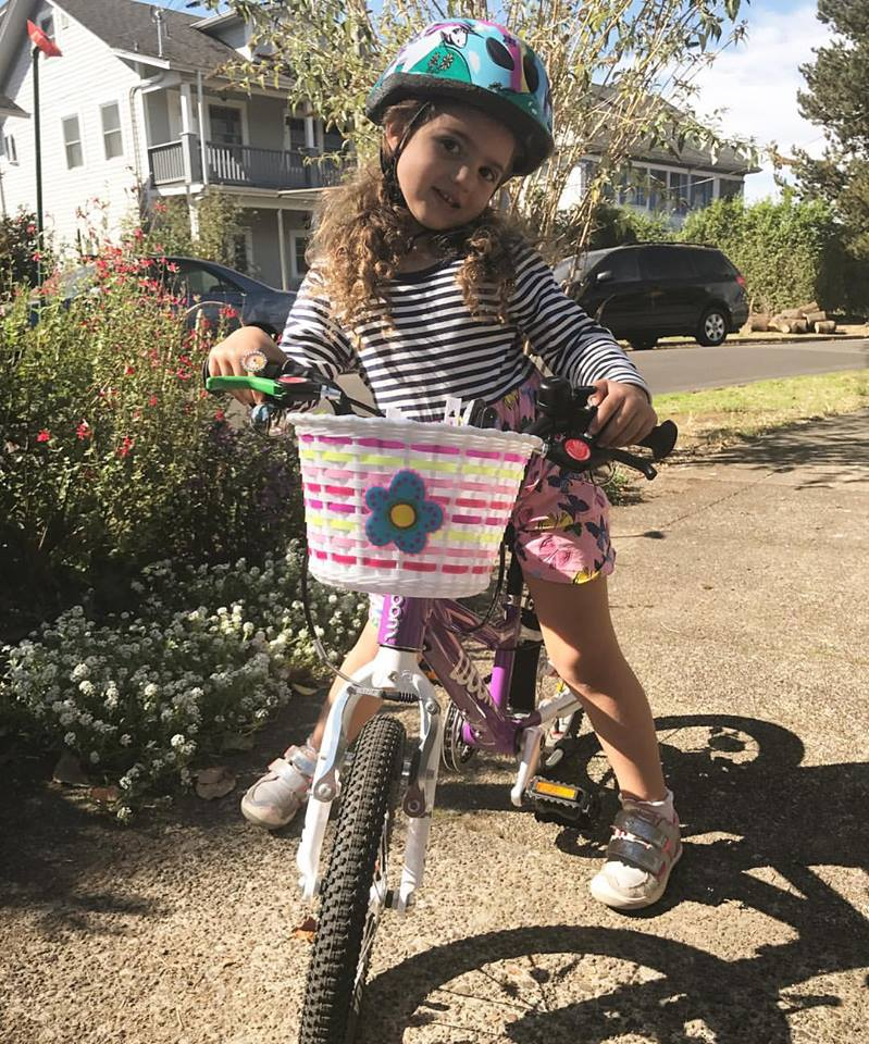 Girl with her bike