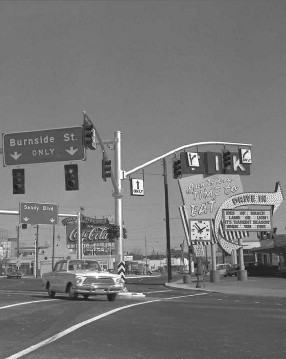 Tik Tok Drive-In Restaurant  Burnside and Sandy  Portland  1965