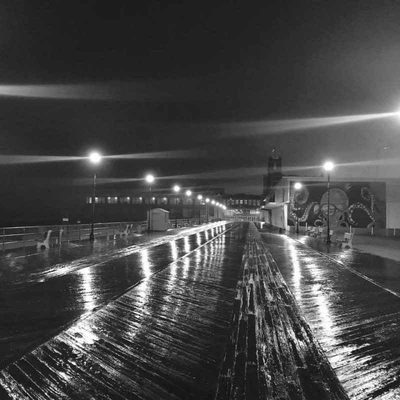 Asbury Park  at night in the rain