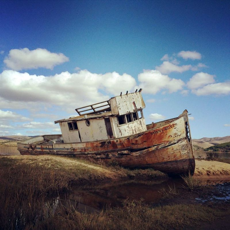 Abandoned boat, Inverness, Marin County