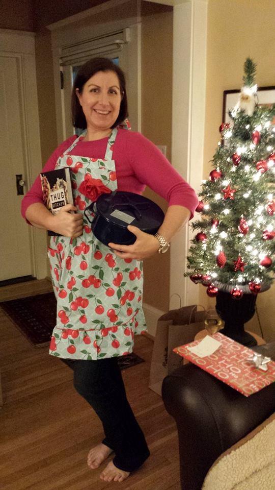 Lindsay on Christmas Eve with goodies