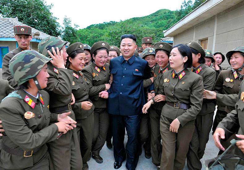 Kin Jong-un and fawning admirers