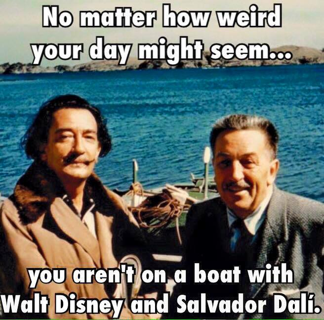 On a boat with Walt Disney and Salvador Dali