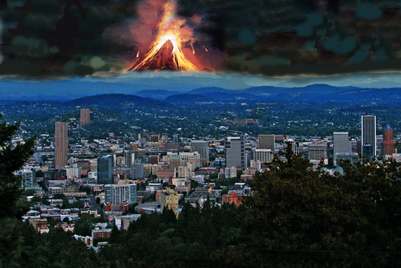 Mount Hood erupting