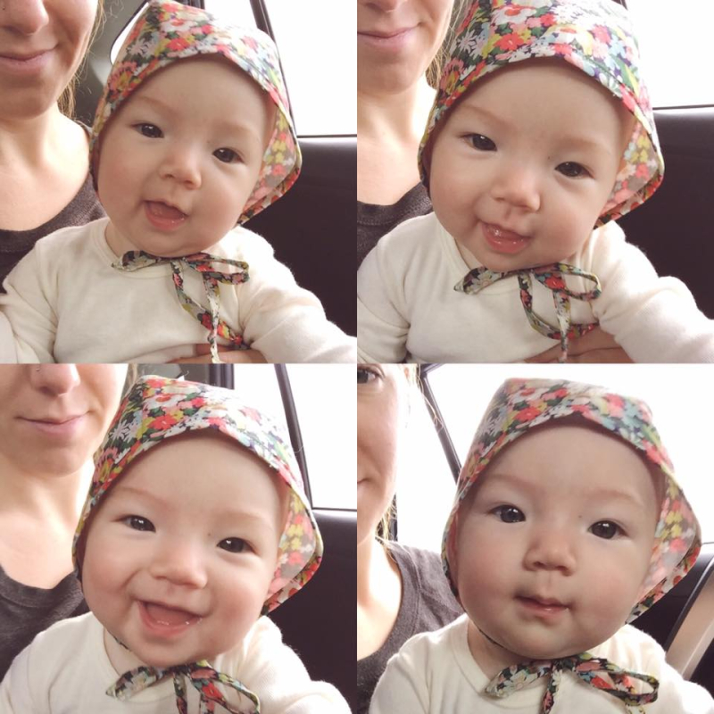 Baby and bonnet