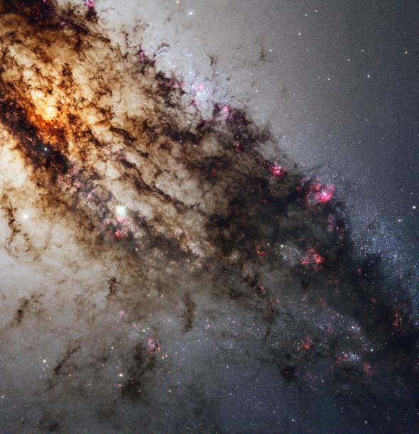 Pink pockets of star formation in Centaurus A galaxy