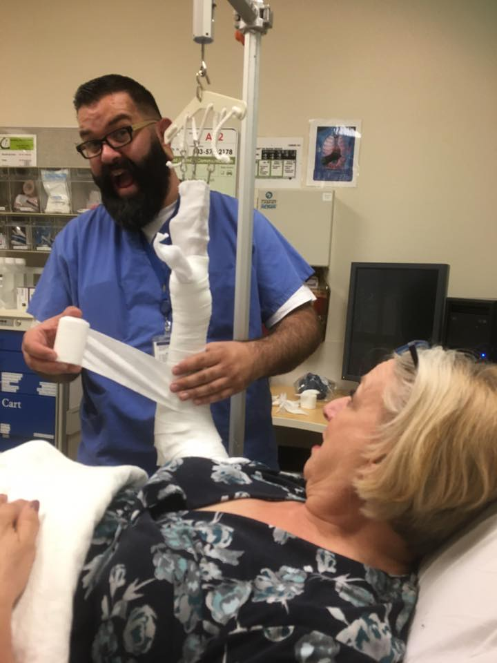 Linda getting a cast