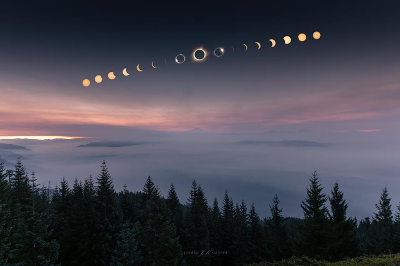 Time-elapsed photo of eclipse  over Oregon