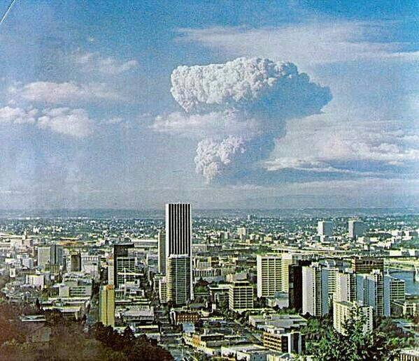 May 18  1980 - Mt. St. Helens from Portlan