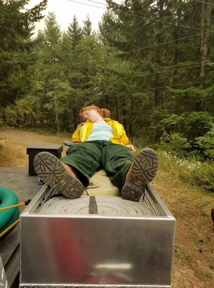 Firefighter exhausted after 24 straight hours on the Archer Mountain Fire