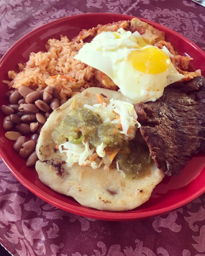 Chilaquiles  Carne Asada  Rice y Beans  Pupusa  and a Lil Egg for breakfast